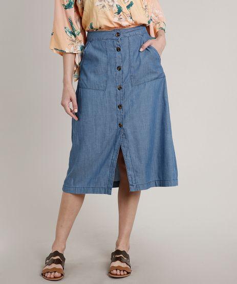 Saia-Jeans-Feminina-Midi-com-Botoes-e-Fendas-Azul-Medio-9681763-Azul_Medio_1