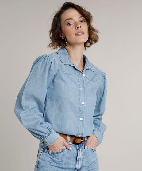 Camisa-Jeans-Feminina-com-Recorte-Manga-Bufante-Azul-Claro-9664653-Azul_Claro_1