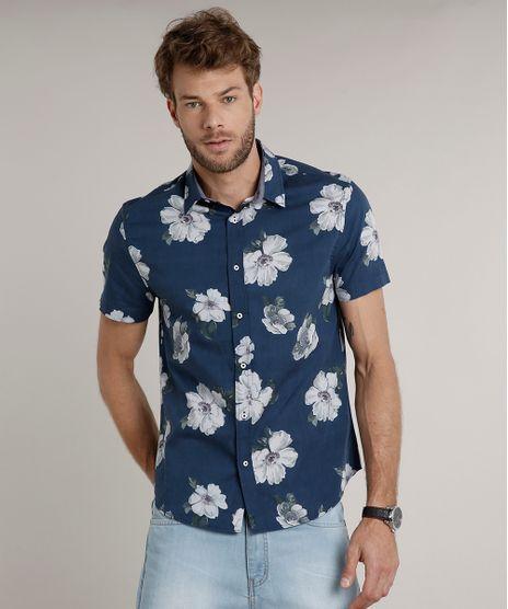 Camisa-Masculina-Comfort-Estampada-Floral-Manga-Curta-Azul-9523390-Azul_1