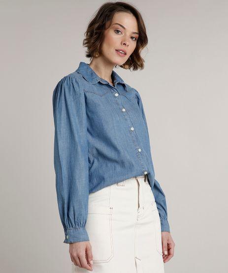 Camisa-Jeans-Feminina-com-Recorte-Manga-Bufante-Azul-Medio-9664652-Azul_Medio_1