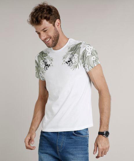 Camiseta-Masculina-Slim-Fit-com-Caveiras-e-Folhagens-Manga-Curta-Gola-Careca-Branca-9635143-Branco_1