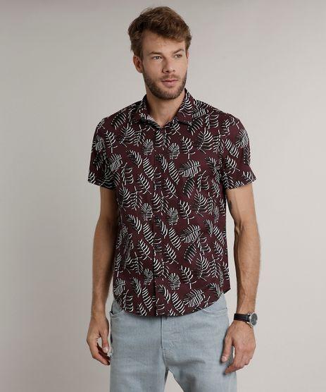 Camisa-Masculina-Tradicional-Estampada-de-Folhagem-Manga-Curta-Vinho-9516958-Vinho_1