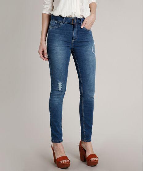 Calca-Jeans-Feminina-Skinny-com-Puidos-e-Cinto-Azul-Medio-9662967-Azul_Medio_1