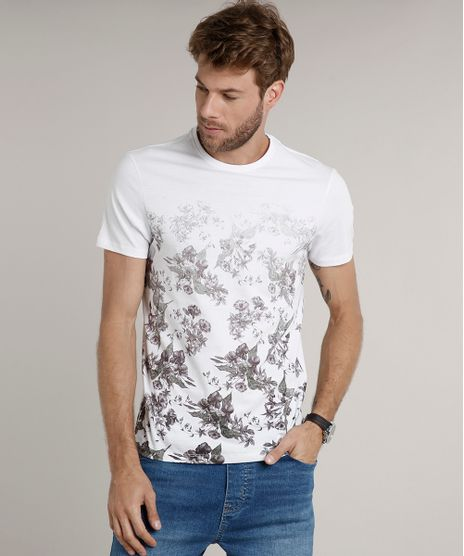 Camiseta-Masculina-Slim-Fit-com-Estampa-Floral-Degrade-Manga-Curta-Gola-Careca-Branca-9635144-Branco_1