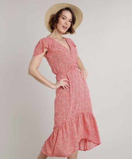 Vestido-Feminino-Midi-Estampado-Floral-com-Babado-na-Manga-Vermelho-9646862-Vermelho_1