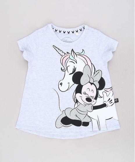 Blusa-Infantil-Minnie-e-Unicornio-com-Glitter-Manga-Curta-Cinza-Mescla-Claro-9313328-Cinza_Mescla_Claro_1