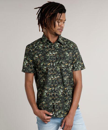 Camisa-Masculina-Tradicional-Estampada-de-Folhagem-com-Bolso-Manga-Curta-Preta-8622493-Preto_1