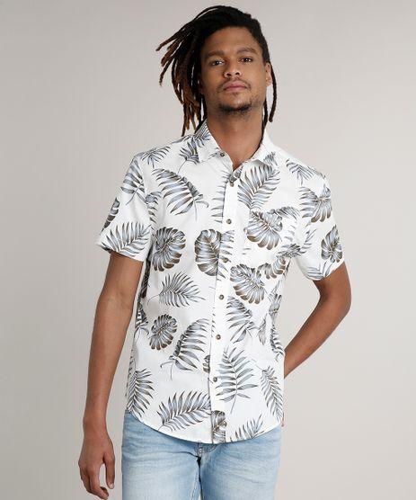 Camisa-Masculina-Tradicional-Estampada-de-Folhagem-com-Bolso-Manga-Curta-Branca-9250500-Branco_1