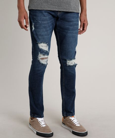 Calca-Jeans-Masculina-Carrot-Destroyed-com-Mosquetao-Azul-Escuro-9663926-Azul_Escuro_1