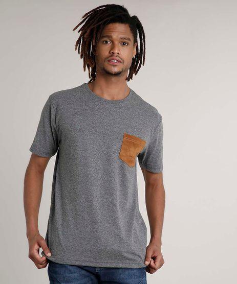 Camiseta-Masculina-com-Bolso-Manga-Curta-Gola-Careca-Cinza-Mescla-Escuro-9646720-Cinza_Mescla_Escuro_1