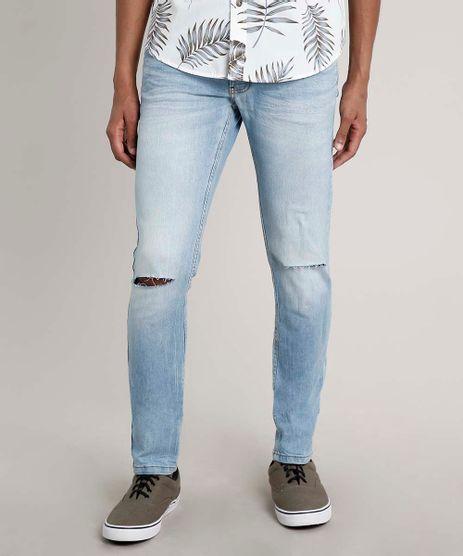 Calca-Jeans-Masculina-Skinny-com-Rasgos--Azul-Claro-9663925-Azul_Claro_1
