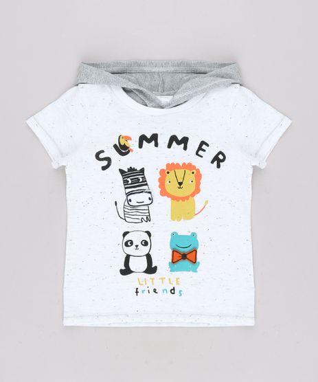 Camiseta-Infantil-com-Estampa-Interativa-de-Bichos-e-Capuz-Manga-Curta--Branco-9660205-Branco_1