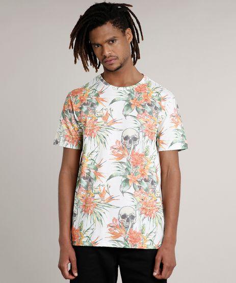 Camiseta-Masculina-Estampado-Floral-Manga-Curta-Gola-Careca-Off-White-9646719-Off_White_1