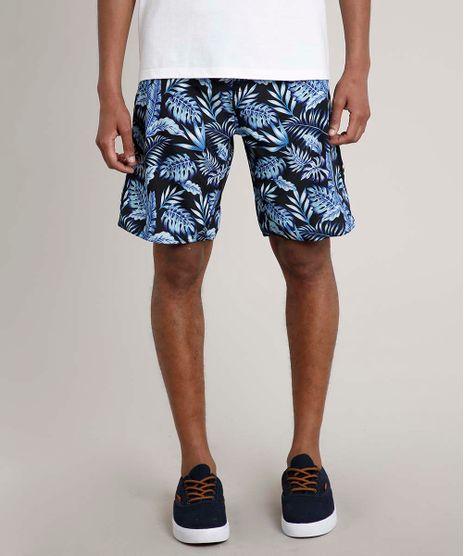 Bermuda-Surf-Masculina-Estampada-de-Folhagens-Preta-9723363-Preto_1
