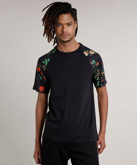 Camiseta-Masculina-Floral-Raglan-Manga-Curta-Gola-Careca-Preta-9636470-Preto_1
