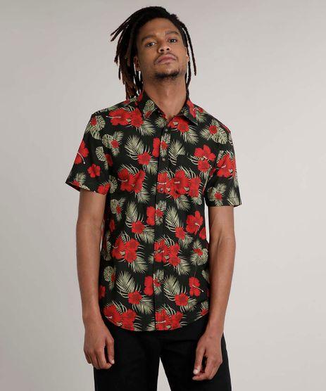 Camisa-Masculina-Tradicional-Estampada-Floral-com-Bolso-Manga-Curta-Preta-9514514-Preto_1