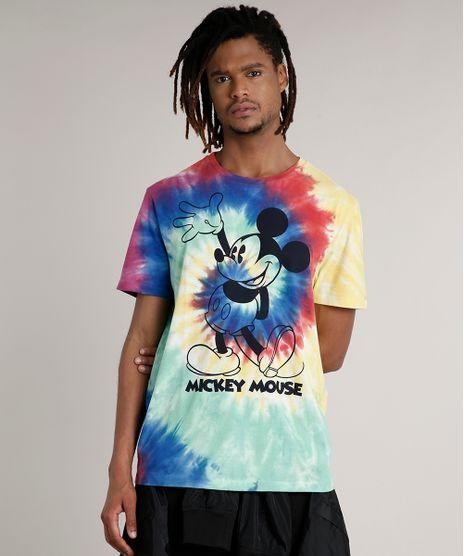 Camiseta-Masculina-Mickey-Estampada-Tie-Dye-Manga-Curta-Gola-Careca-Amarela-9722854-Amarelo_1