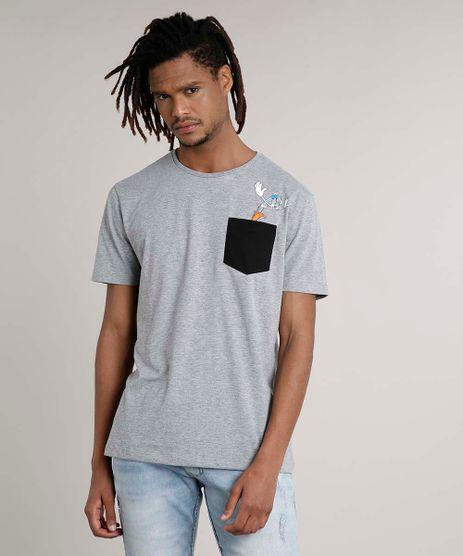 Camiseta-Masculina-Pernalonga-com-Bolso-Manga-Curta-Gola-Careca-Cinza-Mescla-Medio-9623020-Cinza_Mescla_Medio_1