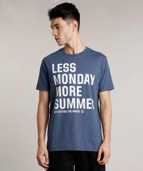 Camiseta-Masculina--Less-Monday-More-Summer--Manga-Curta-Gola-Careca-Azul-9159185-Azul_1