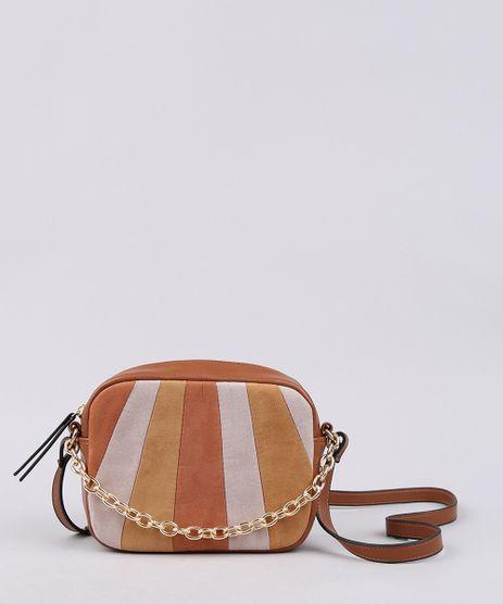Bolsa-Feminina-Transversal-Pequena-com-Recorte-em-Suede-e-Corrente-Caramelo-9604660-Caramelo_1