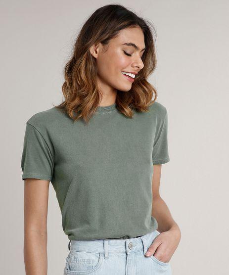 T-Shirt-Feminina-Mindset-Manga-Curta-Decote-Redondo-Verde-Militar-9768945-Verde_Militar_1