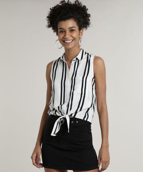 Camisa-Feminina-Listrada-com-Bolso-Sem-Manga-Branco-9626991-Branco_1