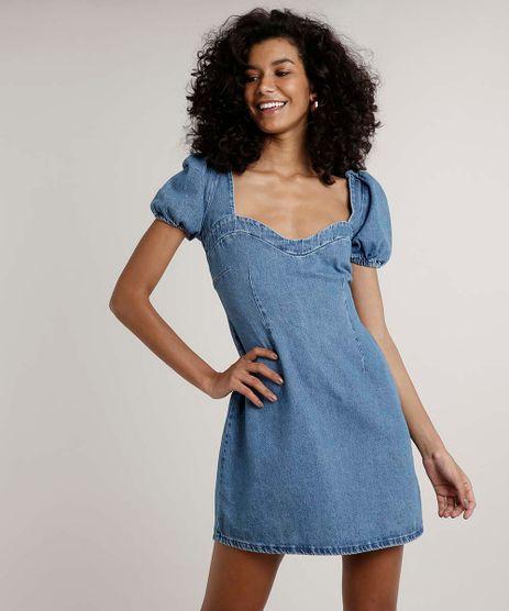 Vestido-Jeans-Feminino-Curto-com-Vazado-Manga-Curta-Decote-Coracao-Azul-Medio-9709662-Azul_Medio_1