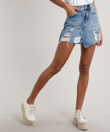 Saia-Jeans-Feminina-Curta-Destroyed-com-Bolsos-Azul-Medio-9669109-Azul_Medio_1