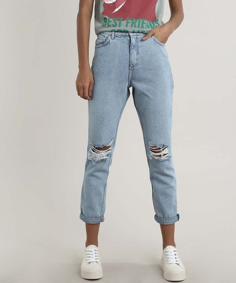 Calca-Jeans-Feminina-Mom-Destroyed-Azul-Claro-9664645-Azul_Claro_1