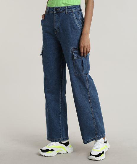 Calca-Jeans-Feminina-Cargo-com-Bolsos-Azul-Escuro-9669107-Azul_Escuro_1