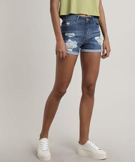 Short-Jeans-Feminino-Reto-Destroyed-com-Bolsos-e-Barra-Dobrada-Azul-Medio-9670244-Azul_Medio_1