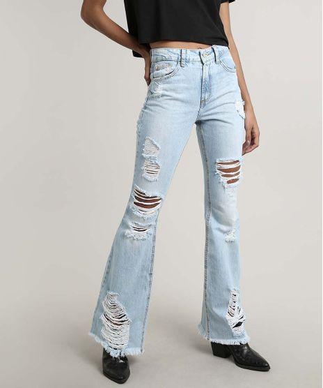 Calca-Jeans-Feminina-Flare-Destroyed-com-Bolsos-Azul-Claro-9666365-Azul_Claro_1