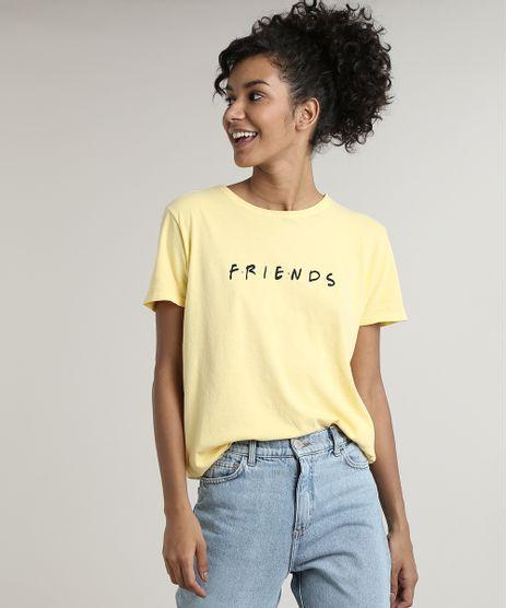 Blusa-Feminina-Friends-Manga-Curta-Decote-Redondo-Amarela-9704509-Amarelo_1