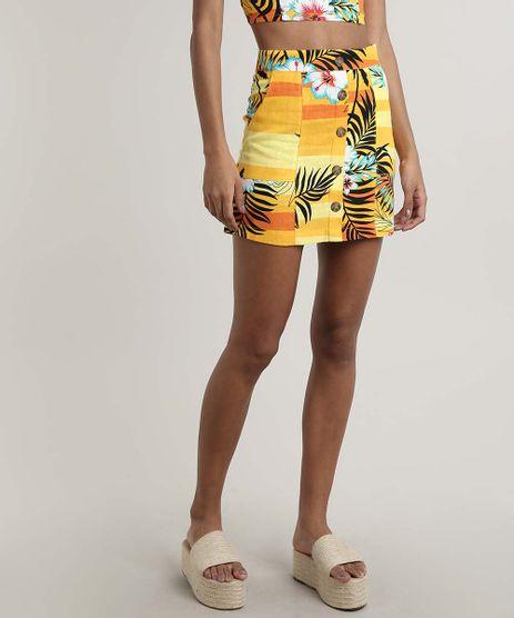 Saia-Feminina-Curta-em-Linho-Estampada-Tropical-com-Botoes-Amarela-9632929-Amarelo_1