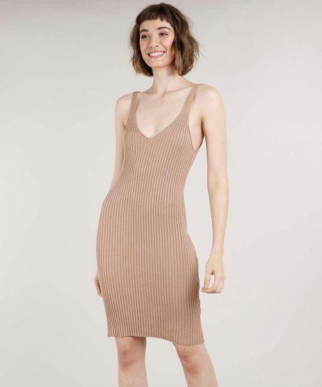 Vestido-Feminino-Mindset-Curto-em-Trico-Canelado-Decote-V-Bege-Escuro-9784537-Bege_Escuro_1