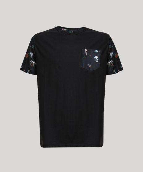 Camiseta-Masculina-com-Bolso-Estampado-de-Caveiras-Manga-Curta-Gola-Careca-Preta-9647500-Preto_1