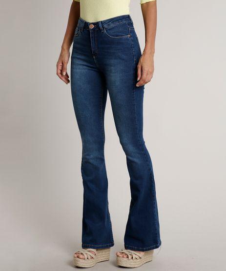 Calca-Jeans-Feminina-Flare-com-Bolsos-Azul-Medio-9665063-Azul_Medio_1