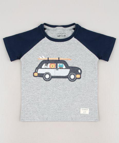 Camiseta-Infantil-com-Patch-de-Carro-e-Bichinhos-Raglan-Manga-Curta-Cinza-Mescla-9660204-Cinza_Mescla_1