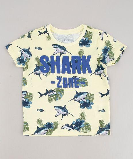 Camiseta-Infantil--Shark-Zone--Estampada-Manga-Curta-Amarelo-Claro-9690703-Amarelo_Claro_1