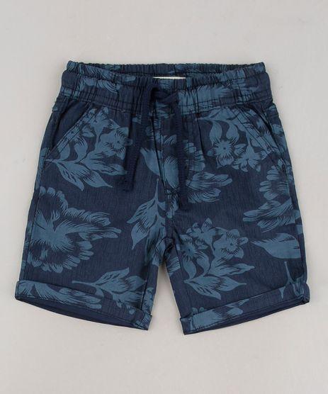 Bermuda-de-Sarja-Infantil-Estampada-Floral-com-Bolsos-Azul-Marinho-9644516-Azul_Marinho_1