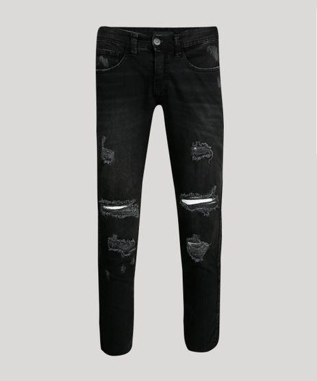 Calca-Jeans-Masculina-Slim-Destroyed-com-Recorte-Lateral-Preta-9689298-Preto_1