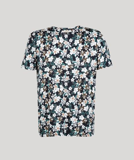 Camiseta-Masculina-Comfort-Fit-Estampada-Floral-Manga-Curta-Gola-Careca--Preta-9607436-Preto_1