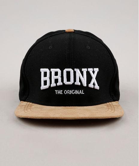 Bone-Masculino--Bronx-The-Original--Aba-Reta-com-Bordado-e-Suede-Preto-9659892-Preto_1