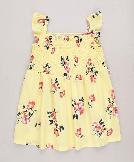 Vestido-Infantil-Estampado-Floral-com-Babados-Sem-Manga-Amarelo-9515357-Amarelo_1