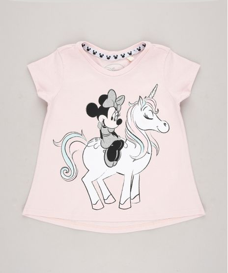Blusa-Infantil-Minnie-e-Unicornio-com-Glitter-Manga-Curta-Rosa-Claro-9313327-Rosa_Claro_1