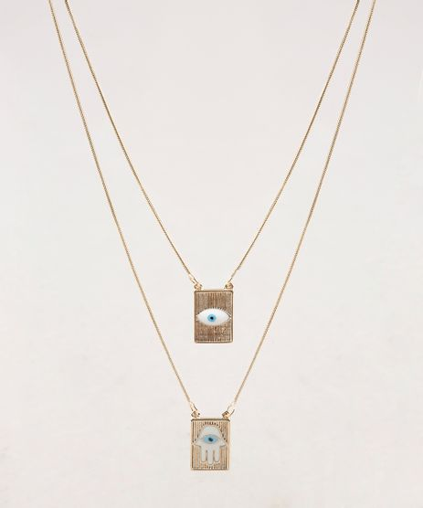Colar-Feminino-Folheado-com-Pingentes-de-Amuletos-Dourado-9657480-Dourado_1
