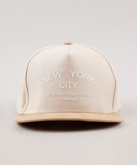 Bone-Masculino-New-York-Aba-Reta-em-Suede-com-Bordado--Bege-Claro-9659896-Bege_Claro_1