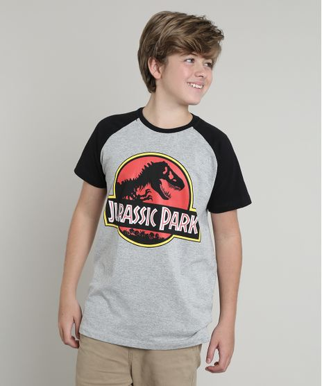 Camiseta-Infantil-Jurassic-Park-Raglan-Manga-Curta-Cinza-Mescla-9660723-Cinza_Mescla_1