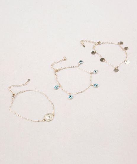 Kit-de-3-Pulseiras-Femininas-Folheadas-com-Pingentes-de-Amuletos-Dourado-9657453-Dourado_1