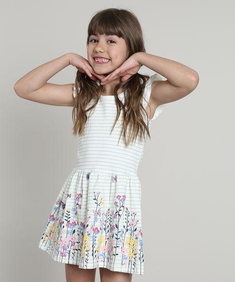 Vestido-Infantil-Listrado-com-Flores-e-Babado-Sem-Manga-Off-White-9612586-Off_White_1